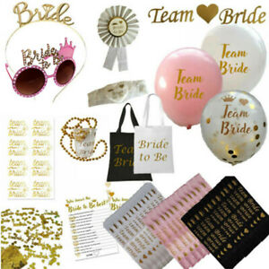 TEAM BRIDE HEN PARTY NIGHT DO BRIDE TO BE SASHES VEIL ROSE GOLD ACCESSORIES LOT