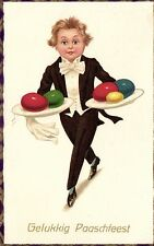 Easter boy waiter serving eggs old artist postcard 1930