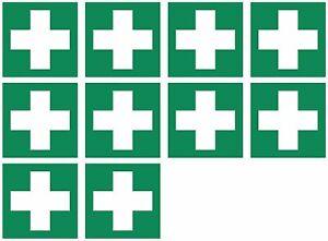 """10x Aufkleber Rettungszeichen """"Erste Hilfe"""" Symbol Schild 5-40cm Folie ISO 7010"""