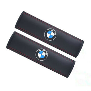 2PCS Car Seat Safety Belt Cover Genuine Leather Shoulder Pads Cushion for BMW