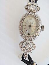 Antique Ladies 14K WHITE GOLD BULOVA DIAMOND WATCH Working, SERIAL # 540044