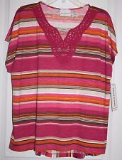 NWT Alfred Dunner Indian Summer Striped Print Crochet Accent Hi-Lo Top - S & XL
