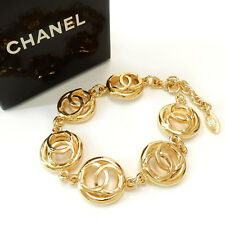 CHANEL Gold Plated CC Logos Charm Vintage Chain Bracelet #2025a Rise-on