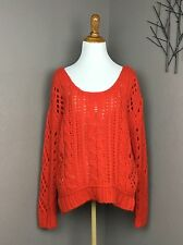 Free People Orange Chunky Knit 'The Fluff' Sweater In 'Wildfire' S