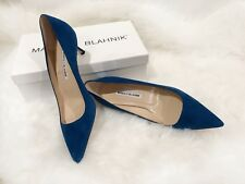 $595 NIB Manolo Blahnik Blue Suede Pumps BB 50 Heels Size37.5