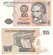 Peru 100 Intis 1987 P-133 UNC Uncirculated Banknote