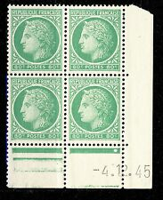 FRANCE - 1945 - N°675 80c MAZELIN COIN DATÉ du 4.12.45 (1 point blanc) - TB