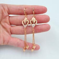 18K Yellow Gold Filled Women Clear Topaz Love Hearts Leaf Tassel Dangle Earrings