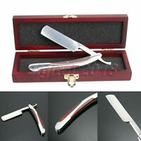 Straight Edge Razor Steel Folding Shaving Wood Handle Knife Barber Beard W/ Box