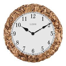 "BBB85456 La Crosse Clock Company 14"" Palm Leaf Wrapped Analog Wall Clock"