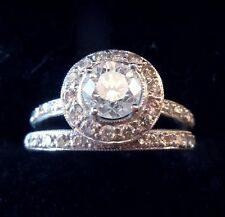 Clarity Enhanced Engagement Diamond Ring Set 14K White Gold 1.5 CTW Round Size 7