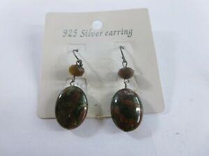 Sterling Silver Green Jasper Smoky Topaz Hook Earrings New On Card KCA4
