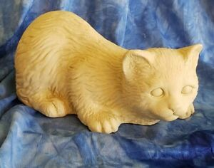 """Cat Kitten Resin Figurine Key Hider by Hen-Feathers & Co. 6 """" long Quality Made!"""