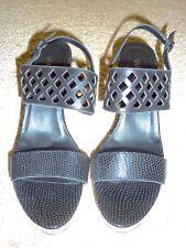 NEW VANELI Black Textured Cut-Out Platform Cork Wedge Sandals 11