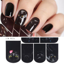 Nail Art Water Decal Mysterious Black Cat Design Manicure Transfer Stickers