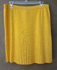 EXCLUSIVELY MISOOK Women's Yellow Pleated Skirt Sz L EUC