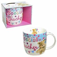 Special Teacher China Boxed Mug - White with Teddy - Thank You Gift