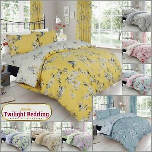 BIRDIE BLOSSOM DUVET COVER PILLOWCASE Floral Bedding Set Ultra Soft Quilt Covers
