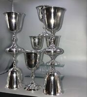 "Full Set of 8 Vintage William Adams Silverplate Wine Goblets 5-5/8"" ITALY EUC"