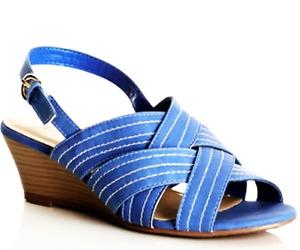 Sizes 39 40 41 Millers Sea Blue Super Soft Comfort Cushion Cross Strap Sandals