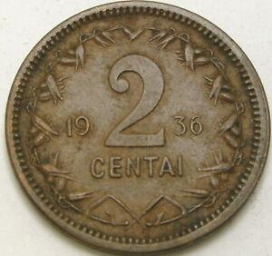 LITHUANIA 2 Centai 1936 - Bronze - VF - 3364 ¤