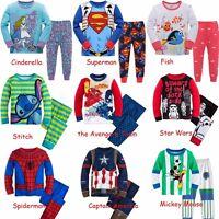 Cartoon Characters Kids Toddler Baby Boys Girls Pajamas Pjs Set Clothes 12M-7T