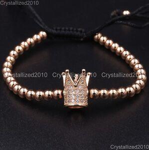 Zircon Rhinestone Adjustable Macrame Yoga Bracelet 18K Silver Gold Plated Unisex