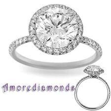 Platinum Round Not Enhanced VVS1 Diamond Engagement Rings