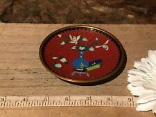 "Vintage Asian Cloisonne Enamel Brass Small Burnt Orange & Blue Plate 4 1/8"""