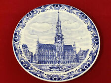 "Antique 9"" Delfts Blauw Chemkefa Blue Wall Hanging Plate Bruxelles Hotel De Vill"