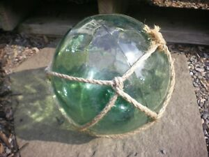 """Vintage Large Green Authentic Japanese Net Glass Fishing Float Bouy Ball 9"""" D"""