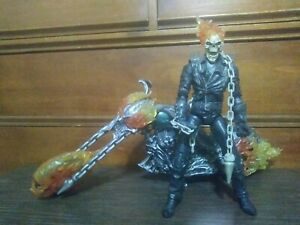 """MARVEL ICONS GHOST RIDER MOVIE 12"""" ULTIMATE ACTION FIGURE W/MOTORCYCLE 2007"""