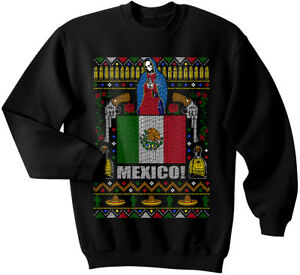 Mexico Ugly Christmas Sweater, Mexico pride, Mexican, Tequila, Santa Muerte, Gun