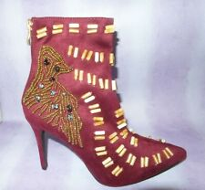"""NEW Size 7  Wine Suedette High 4"""" Stiletto Heel Ankle Boots Steam Punk Wicca RED"""