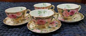 Vintage Antique Asian Pink Floral Teacups & Saucers Set Of 4