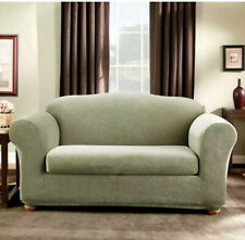 SureFit Stretch Stripe 2-Piece - Loveseat Slipcover - Sage