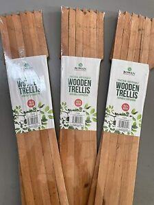 3X Garden Gardeners Dark Wood Coloured Wooden Expanding Expandable trellis 5x2f