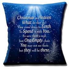 Christmas In Heaven Cushion Cover What Do They Do Blue 16 inch 40 cm
