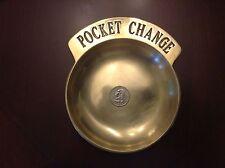 "Vintage Large Solid Brass Pocket Change Dresser Top Dish Pin Tray 5-7/8"""