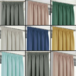 Hugo Woven Thermal Blackout Linen Textured Effect Pair Of Tape Top Curtains