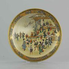 Antique Meiji 19th c Japanese Satsuma Vase  Wise Figures Marked Base
