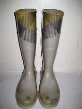 BURBERRY Gray Check Rainboots Women's Size 36 / 6 Made In ITALY.