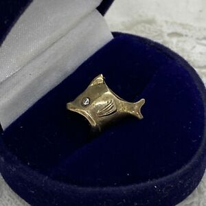 STERLING SILVER Goldfish Fish Charm For European Bracelet Sparkly Gold Vermeil