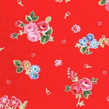 Lakehouse Pam Kitty Love's Bouquet Roses & Flowers on Red Cotton Fabric - FQ