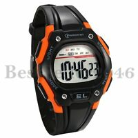 Men's Sports Watch Digital Multifunction Wrist Watch with Black Silicone Strap