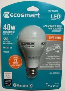 NEW Ecosmart LED Speaker Light Bulb - A21 6w Soft White, Bluetooth Technology