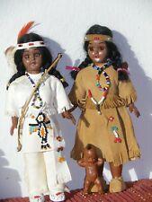 Carlson Dolls Indianerpuppen 19 cm Lederkleidung  USA Vintage 70er für Sammler