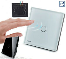 Interruptor de luz de pared, cristal TACTIL Livolo, base cuadrado -blanco, negro