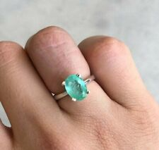 2.53 Carats Solitaire Colombian Emerald Oval Cut Silver Engagement Ring SS 925