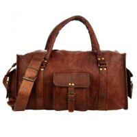 Vintage Brown Leather Bag duffel Travel Mens Retro Gym Luggage Overnight Duffle